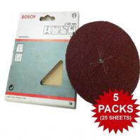 "5 PACKS Bosch Sanding Discs 40 Grit Coarse 125mm 5"" For Drill Backing Pads YD"
